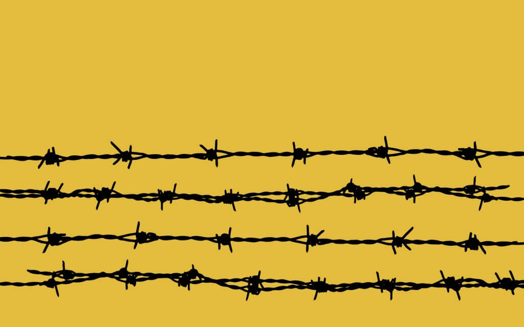 barbed wire on yellow
